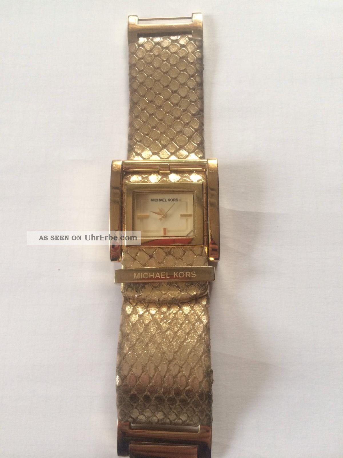 Michael Kors Damen Uhr Gold Armband Leder Schlangen Muster Armbanduhren Bild