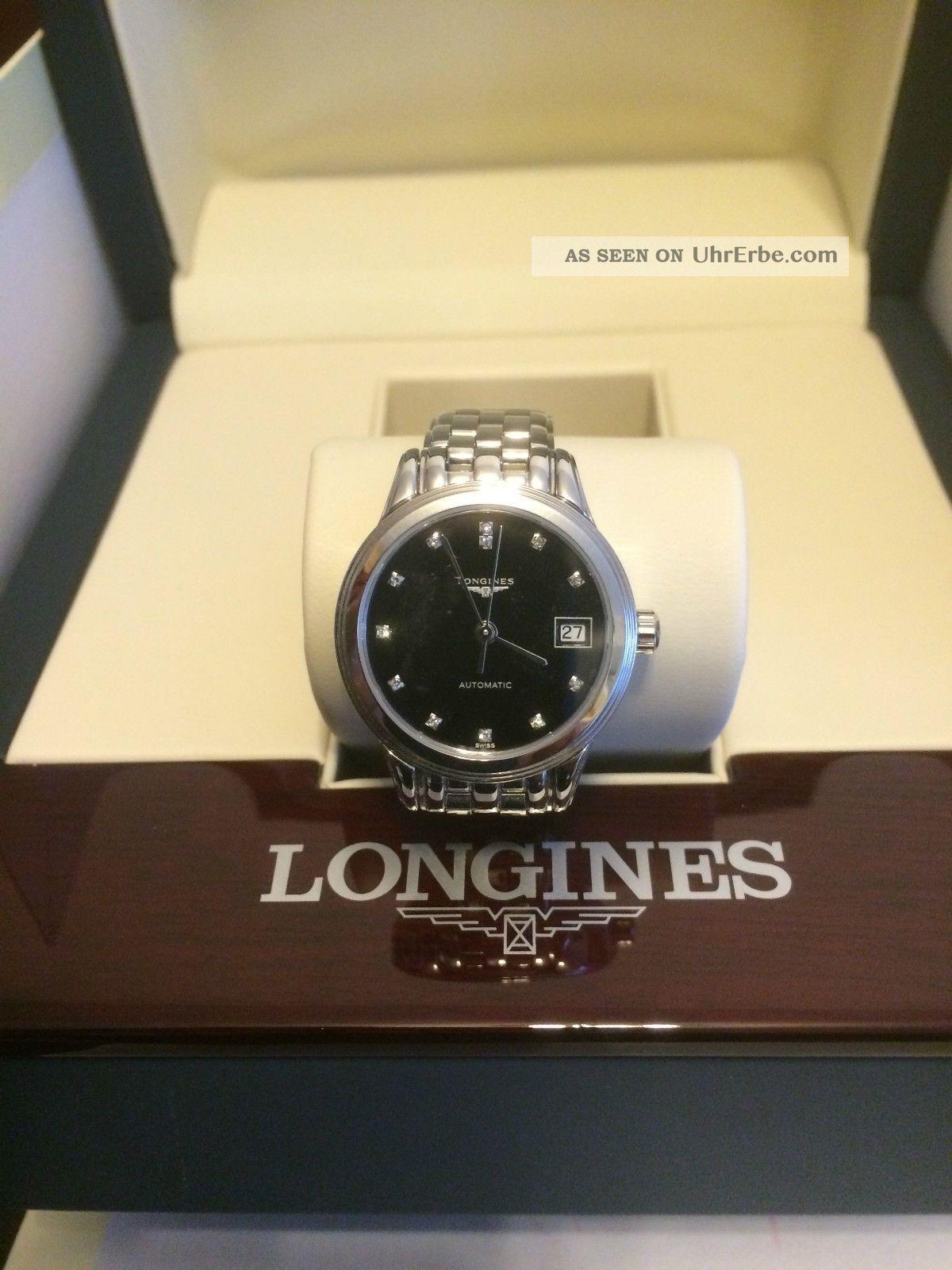 Longines Flagship Damenuhr L4.  274.  4.  57.  6 Automatik & 12 Diamanten Armbanduhren Bild