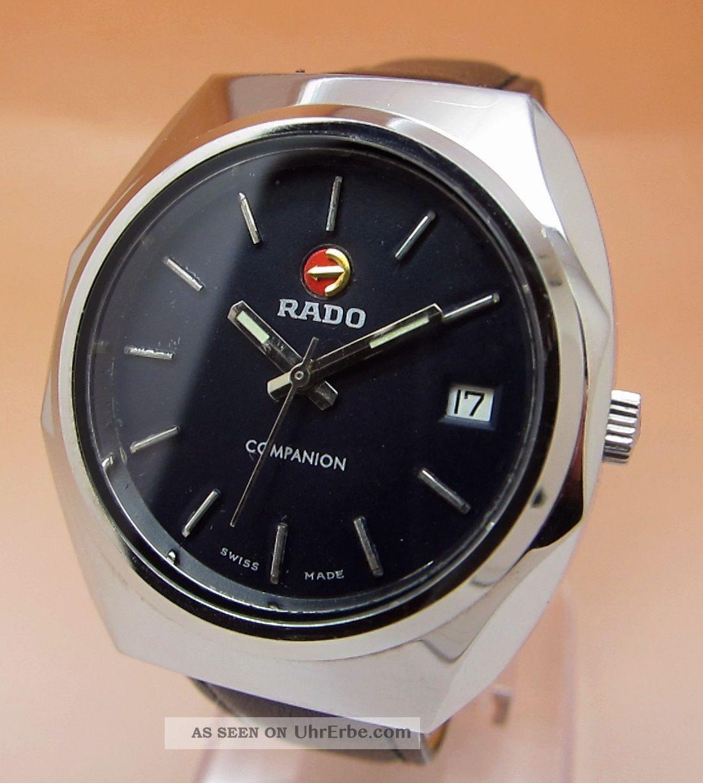 Rado Companion Glasboden Mechanische Uhr 17 Jewels Datumanzeige Lumi Zeiger Armbanduhren Bild