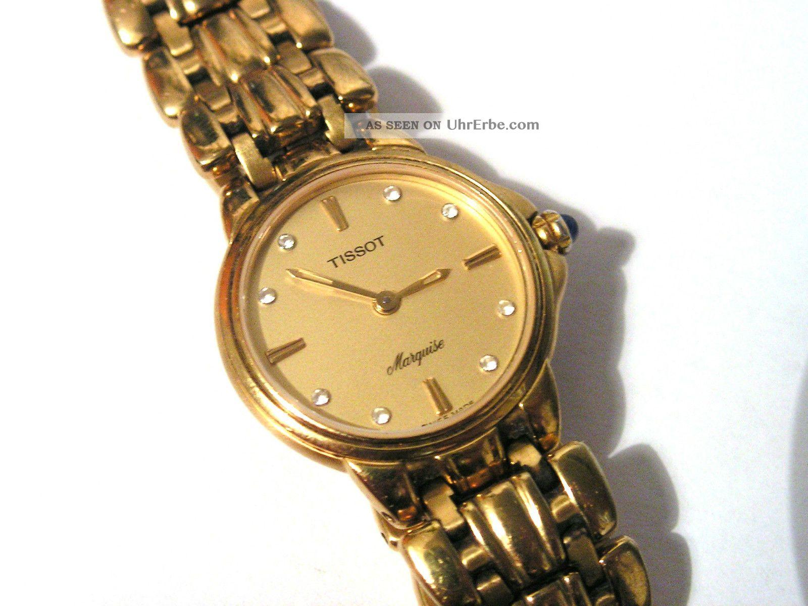 Klassisch & Edel Tissot Marquise Damenuhr Armbanduhr Goldfarben Armbanduhren Bild
