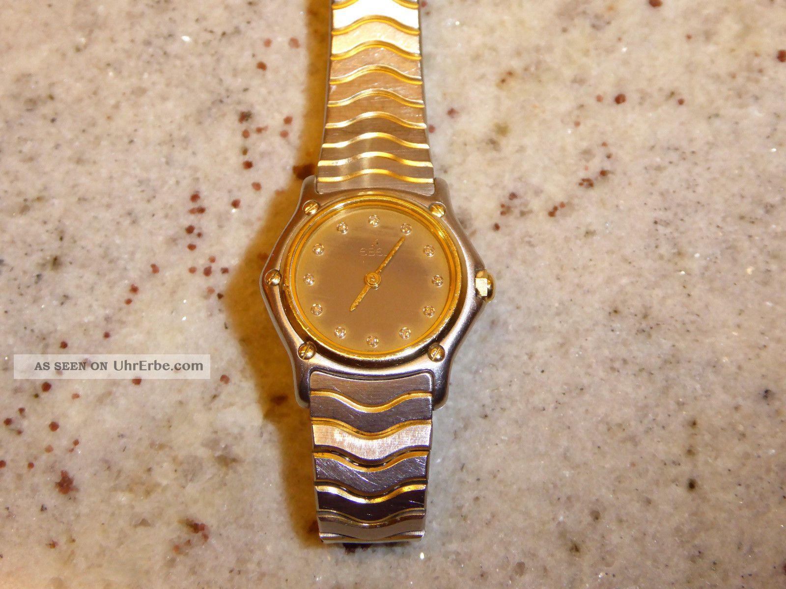 Ebel Classic Wave Damen Uhr Diamantzifferblatt Edelstahl/gold Armbanduhren Bild