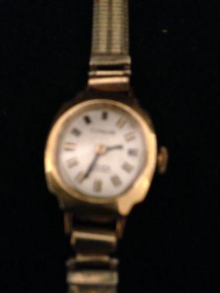 Bezaubernde Dugena Damen Armbanduhr Schweiz 17 Rubis Gold Läuft Bild