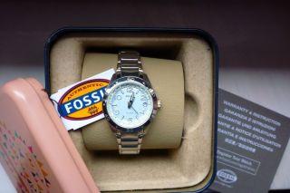 Fossil,  Damenuhr,  Armbanduhr,  Silber,  Blau,  Strass,  Originalverpackung Bild