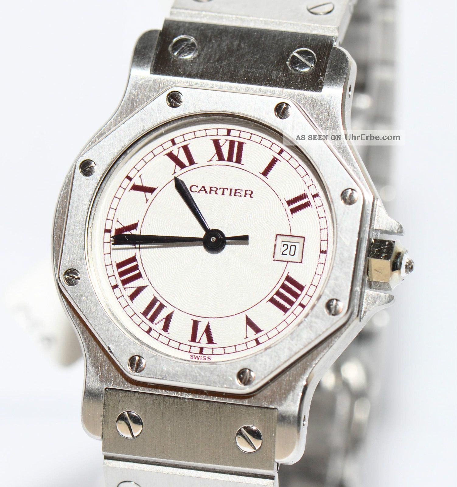 Cartier Santos Platin Uhr Papiere Box Von 1985 Automatik Armbanduhren Bild