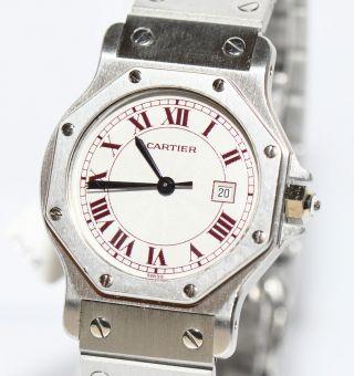 Cartier Santos Platin Uhr Papiere Box Von 1985 Automatik Bild