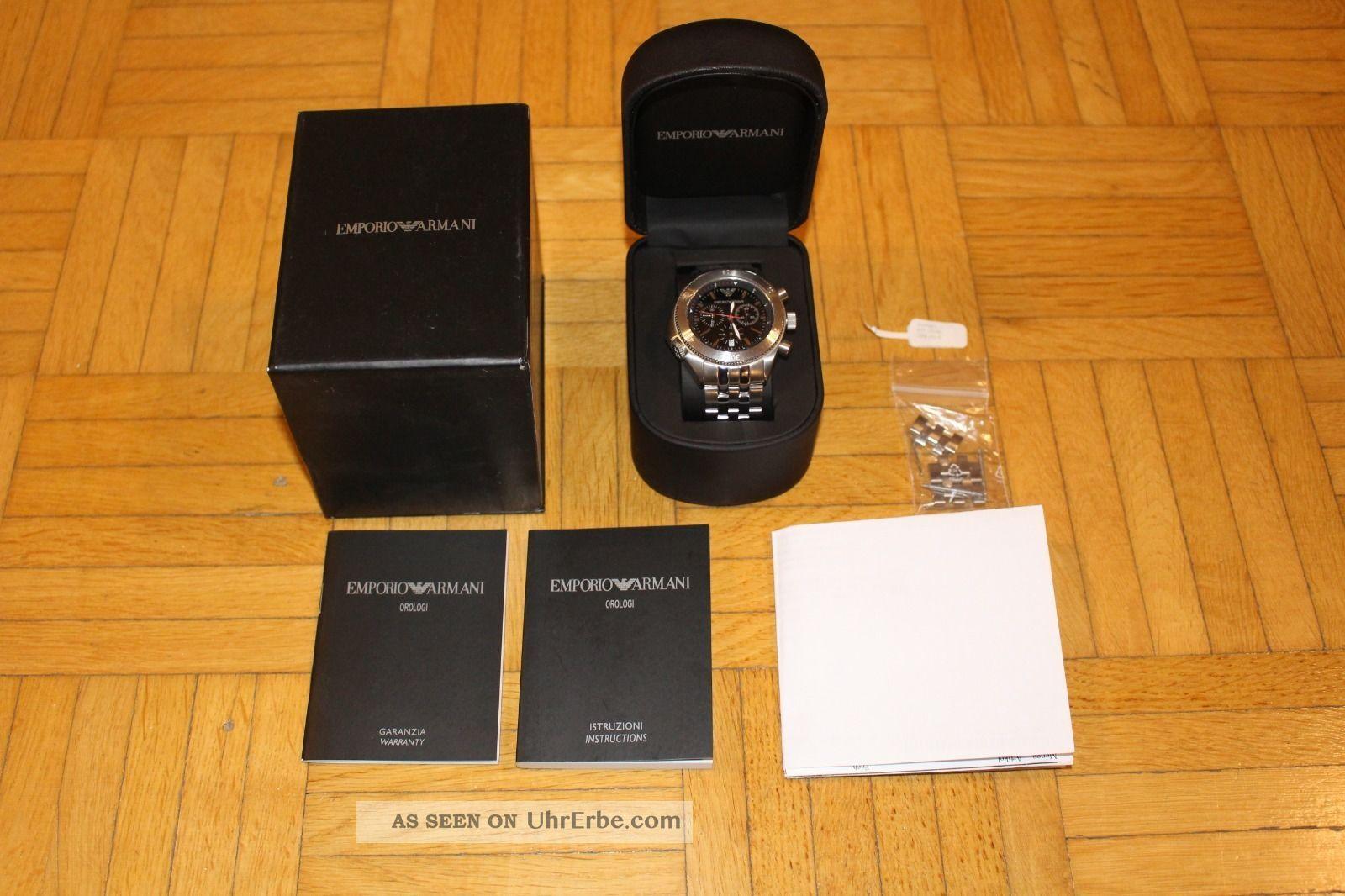 100 Emporio Armani Uhr Herrenuhr Chronograph Ar - 0547 Ovp,  Rechnung Armbanduhren Bild