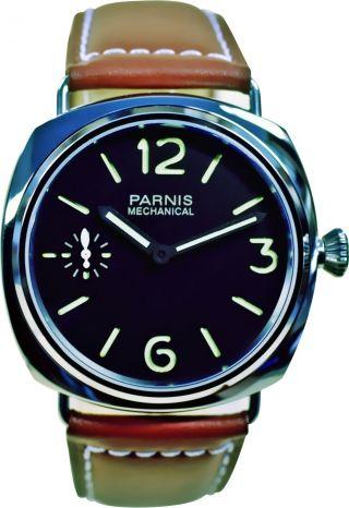 Parnis Edelstahl - Herrenuhr Modell 2024 Handaufzug Armbanduhr Seagull Leder Bild
