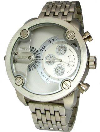 Intenz Xxxl Dual Time Armbanduhr Schwere Flieger Quartz Herrenuhr Bild