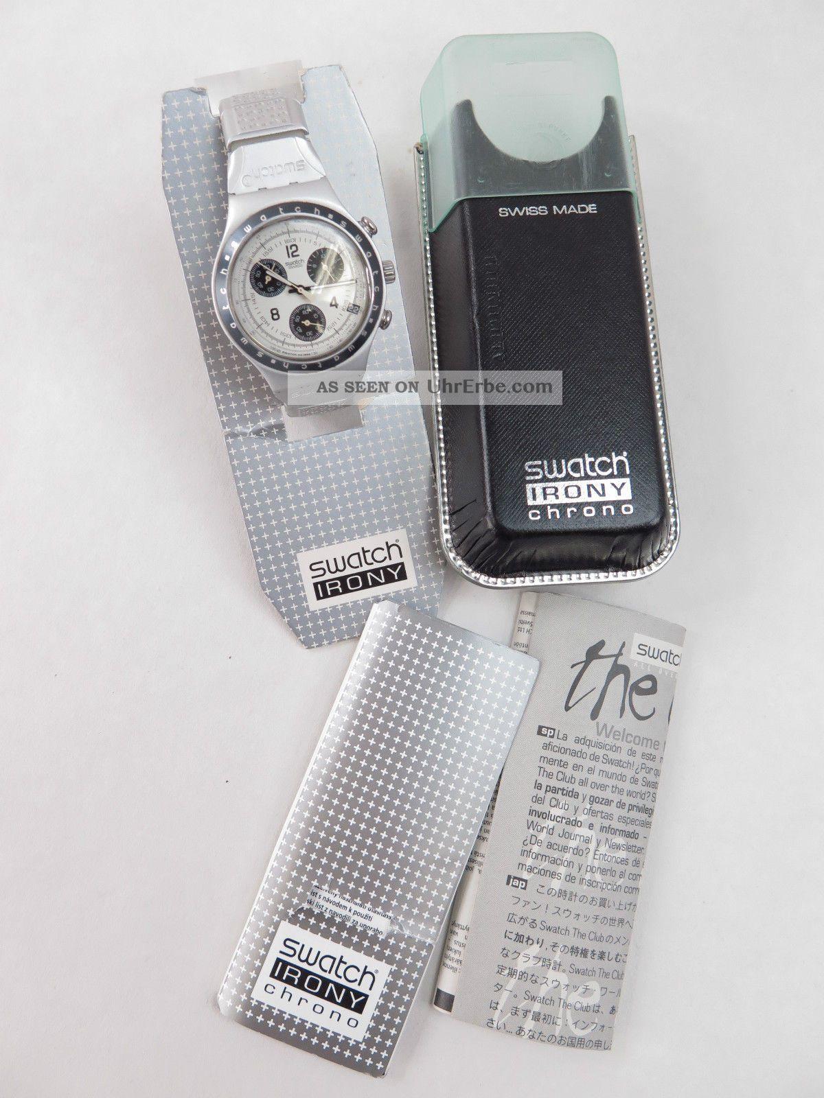 Swatch Irony Chronograph Ycs4001 Mit Alu - Armband Ar Armbanduhren Bild