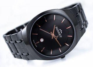 Bisset Bsdc85 Suite Black Slim 6mm Herrenuhr Swiss Made Armbanduhr Bild