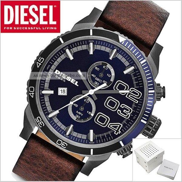 Diesel Herren 50mm Chronograph Braun Leder Armband Edelstahl GehÄuse Uhr Dz4312 Armbanduhren Bild