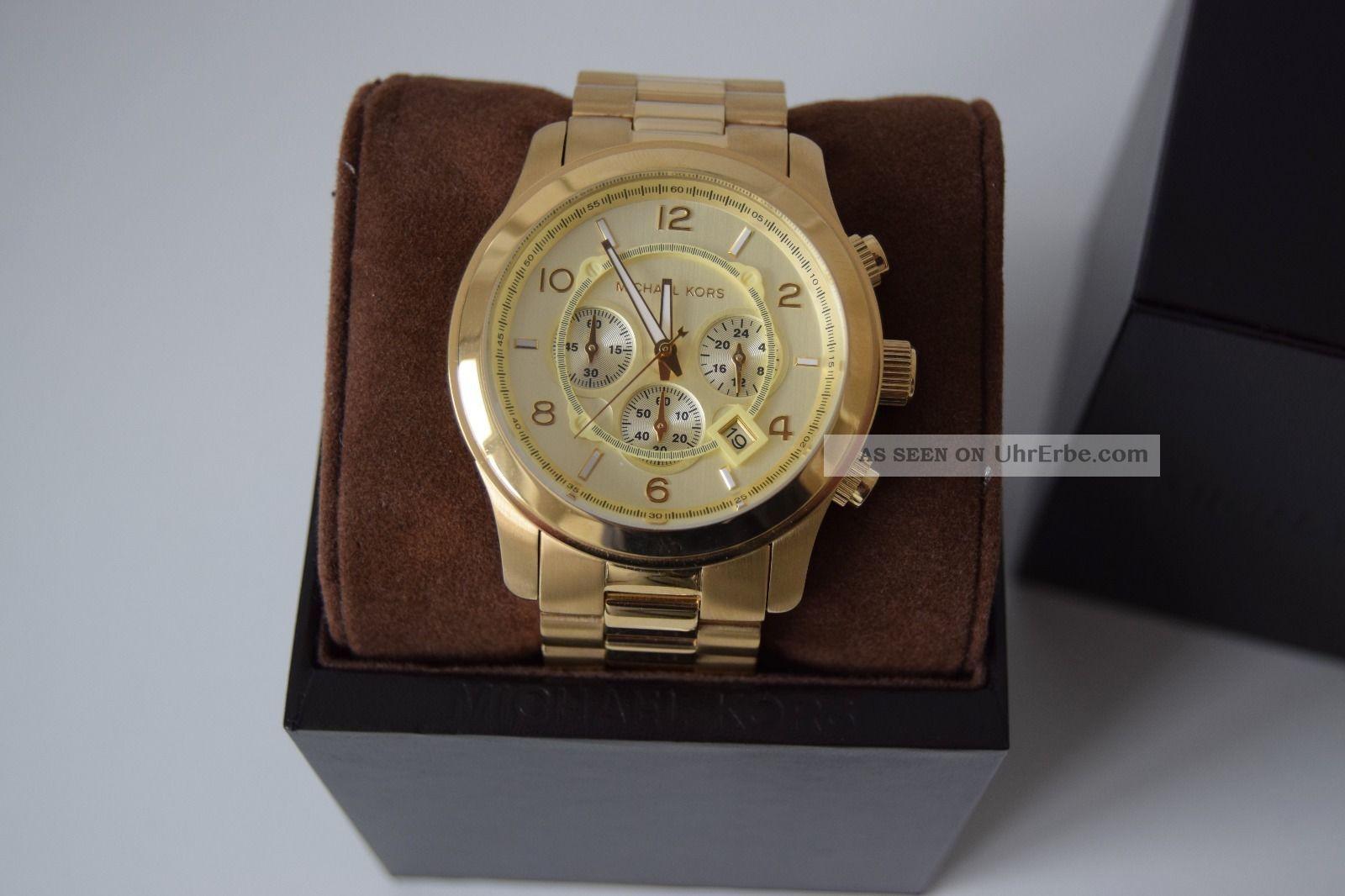 Michael Kors Armbanduhr Runway Mk8077 Gold Chronograph Damenuhr Herrenuhr Armbanduhren Bild
