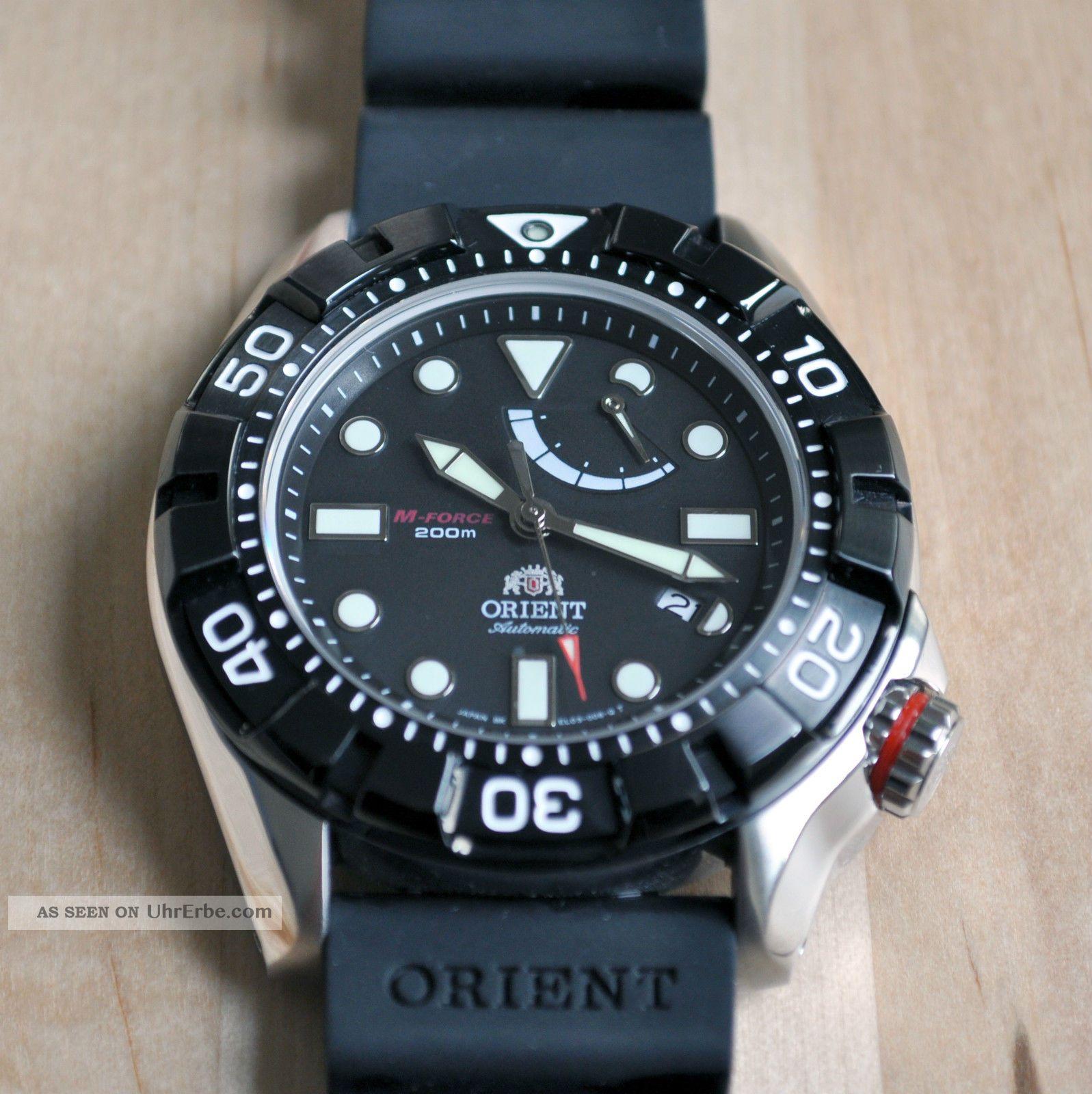 Orient M Force Saphir Diver El03004b Seiko 200m Kautschuk Uhr Air Automatik Armbanduhren Bild