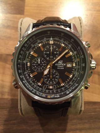 Casio Edifice Uhr Ef - 527l - 1avef,  Herrenuhr Chronograph,  Lederarmband Bild