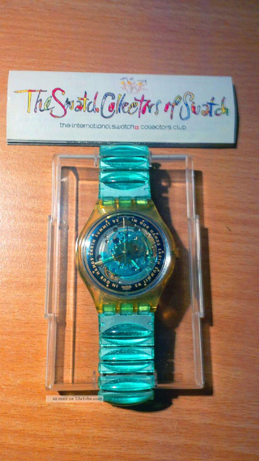 Rar & Limitiert: Swatch Earth Summit ´92 In Ovp - Automatik - Swatch Collectors Armbanduhren Bild