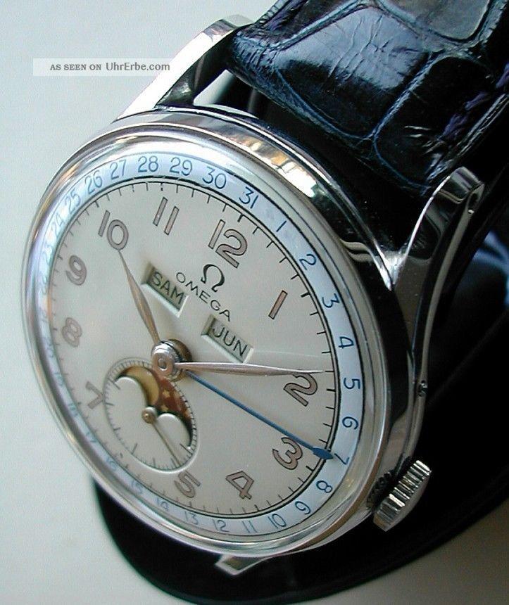 Omega Mondphase Vollkalender (cosmic) V 1947,  Datum,  Monat,  Tag,  Mondphase Armbanduhren Bild