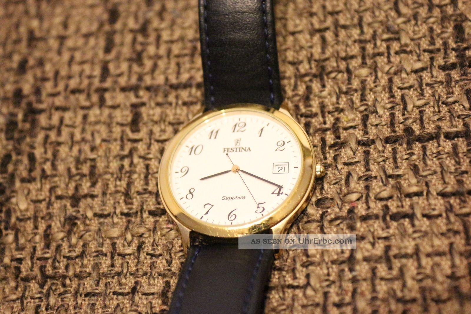 Festina Sapphire Crystal Regsitered Model Herren Damen Leder Armbanduhr Swiss Armbanduhren Bild