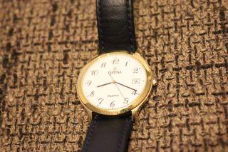 Festina Sapphire Crystal Regsitered Model Herren Damen Leder Armbanduhr Swiss Bild