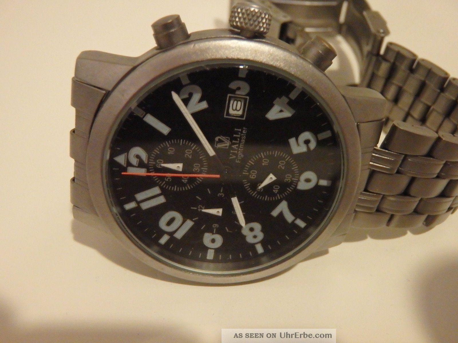 vialli chronograph herrenuhr metallarmband schwarzes zifferblatt. Black Bedroom Furniture Sets. Home Design Ideas