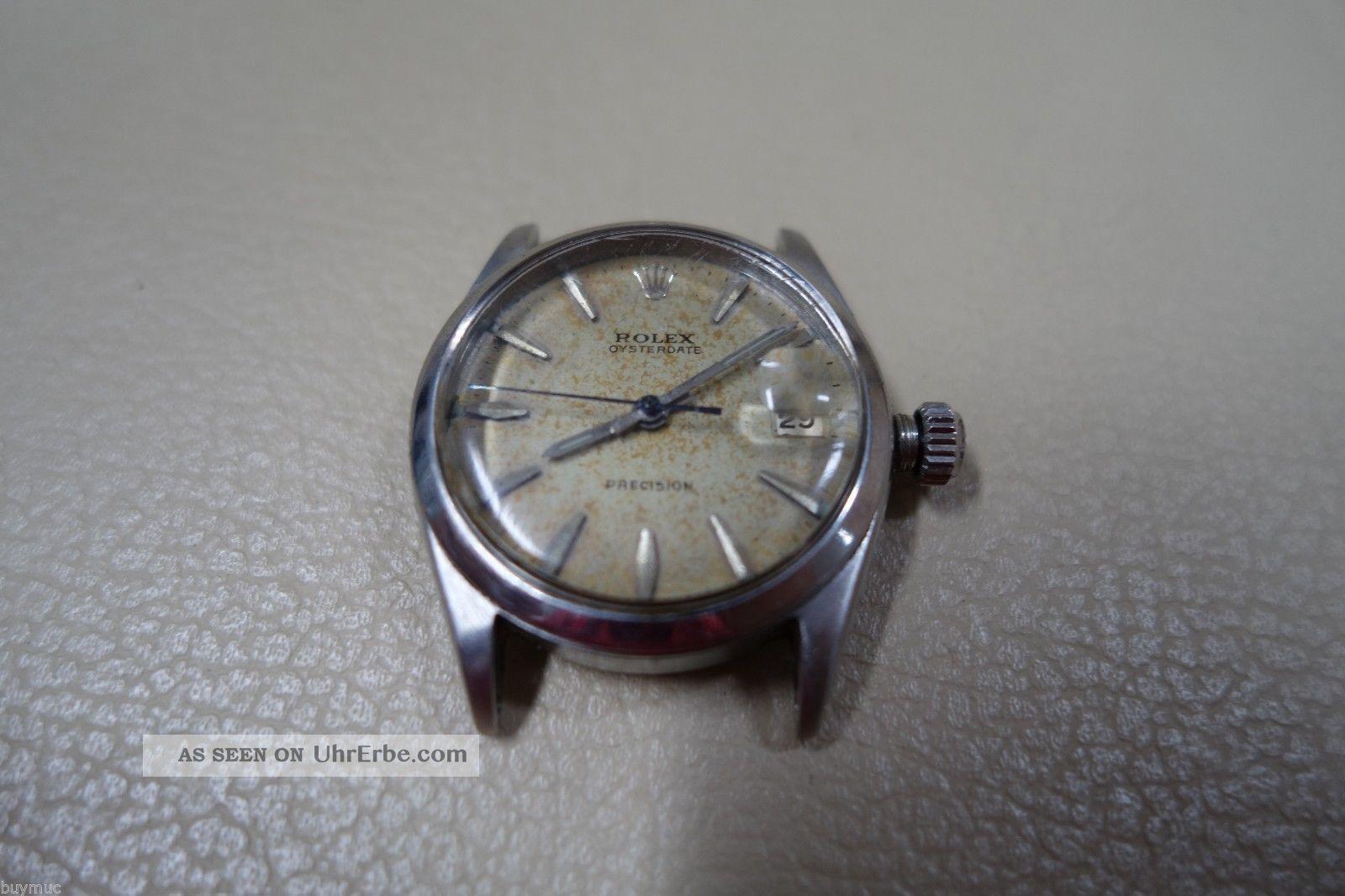 Alte Gebrauchte Defekte Rolex Oysterdate Precision Stahl Ref 6466 30mm Armbanduhren Bild