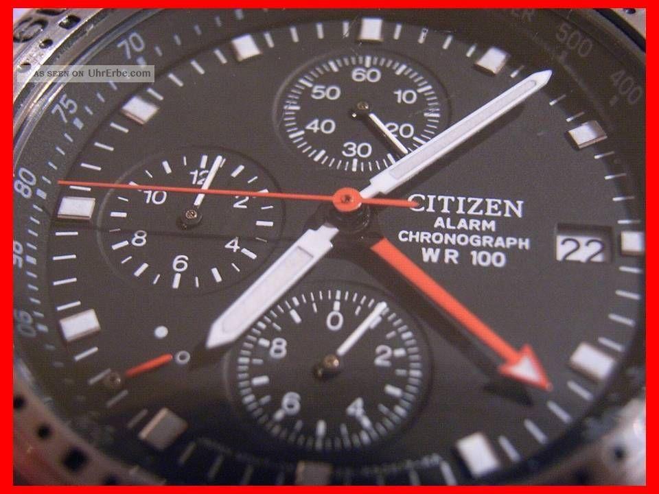 Citizen Alarm Chronograph Wr100 Tachymeter Herrenuhr Armbanduhr Tachymetre Uhren Armbanduhren Bild