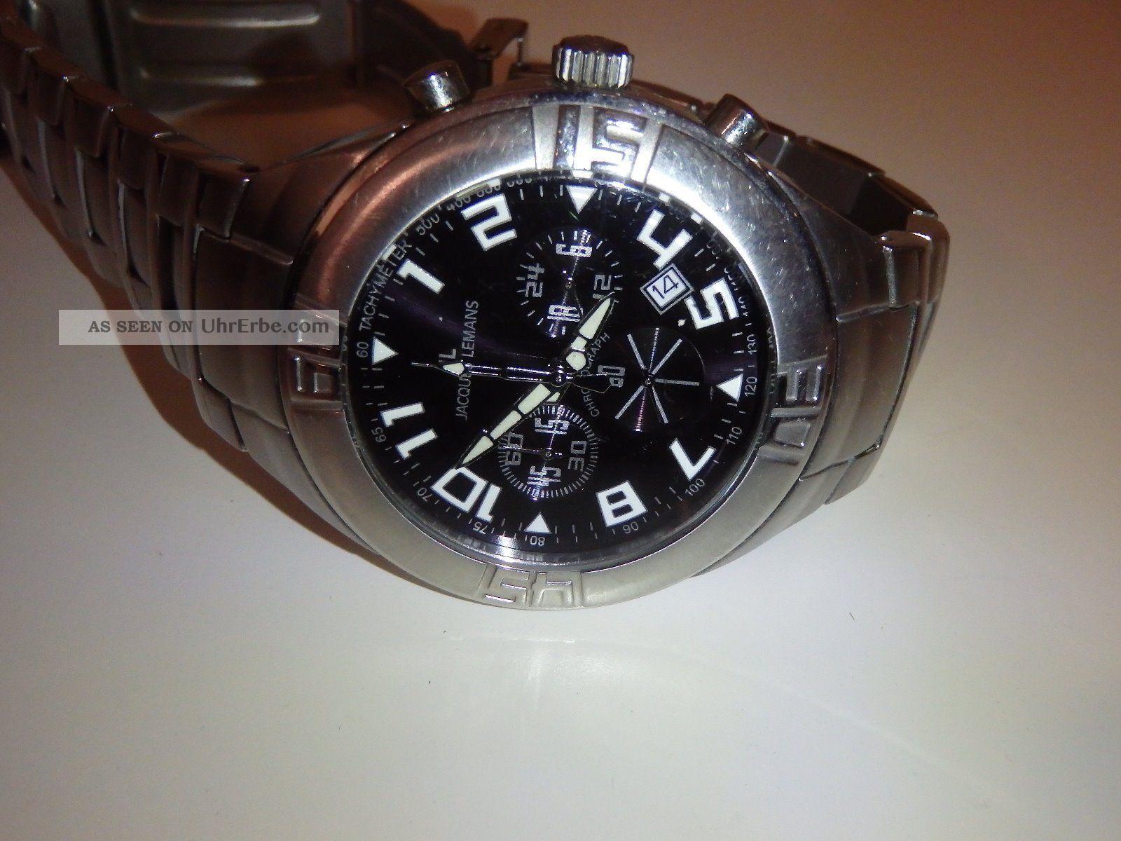 Jacques Lemans Chronograph - 1 - 1021 - Edelstahl - Schwarzes Zifferblatt Armbanduhren Bild