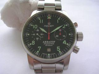 Poljot Aviator1,  Fliegeruhr Chronograph,  Mechanische Uhr,  Handaufzug Hau Bild