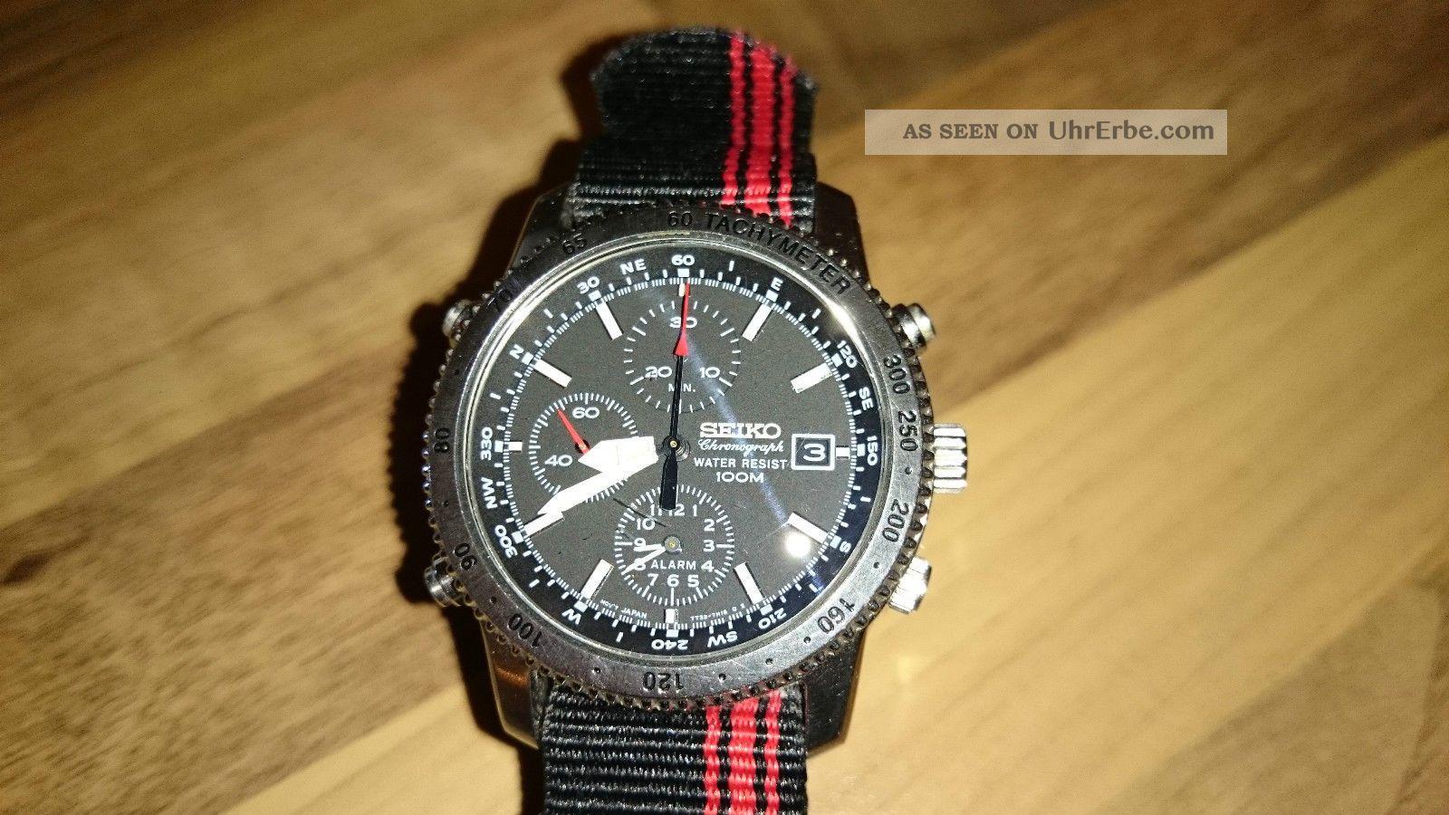 Seiko Chronograph 7t32 - 7e60 Mit Stoppfunktion Und Alarm Armbanduhren Bild
