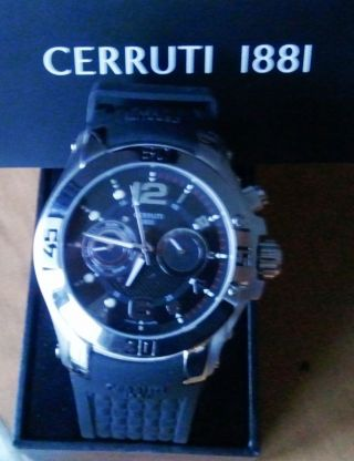 Cerruti 1881 Uhr Chrono Chronograph Herrenuhr Silikon 2 Bild