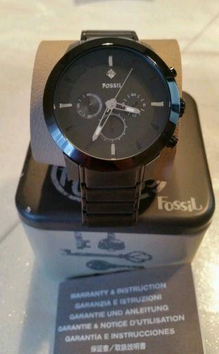 Fossil Fs 4531 Herren Uhr Diamant Akzent Chronograph Black Schwarz & Mit Box Bild