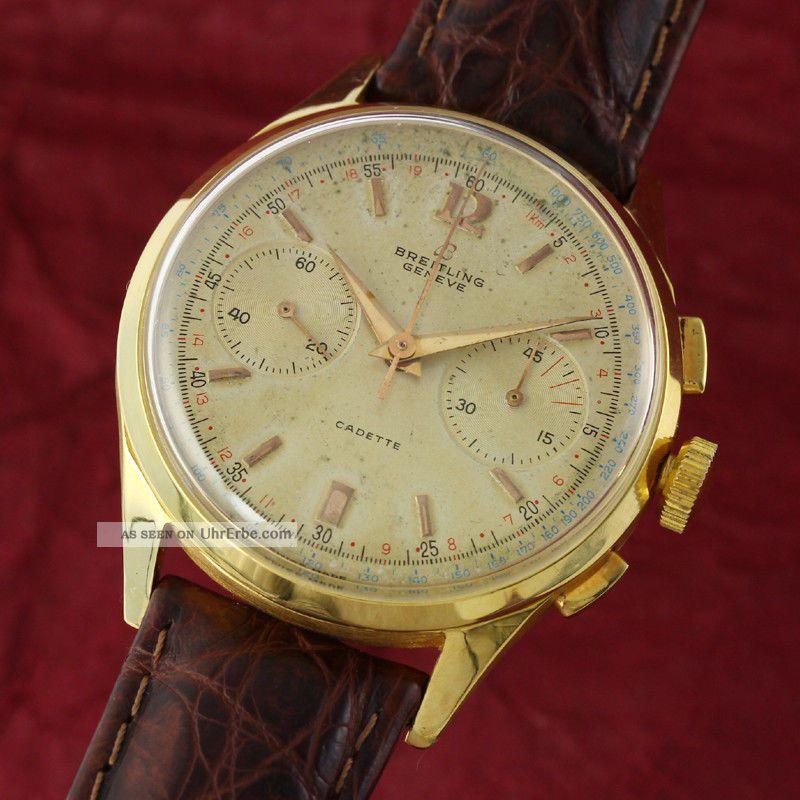 Breitling 18k (0,  750) Gold Cadette Chronograph Handaufzug Vintage Von 1950 Armbanduhren Bild