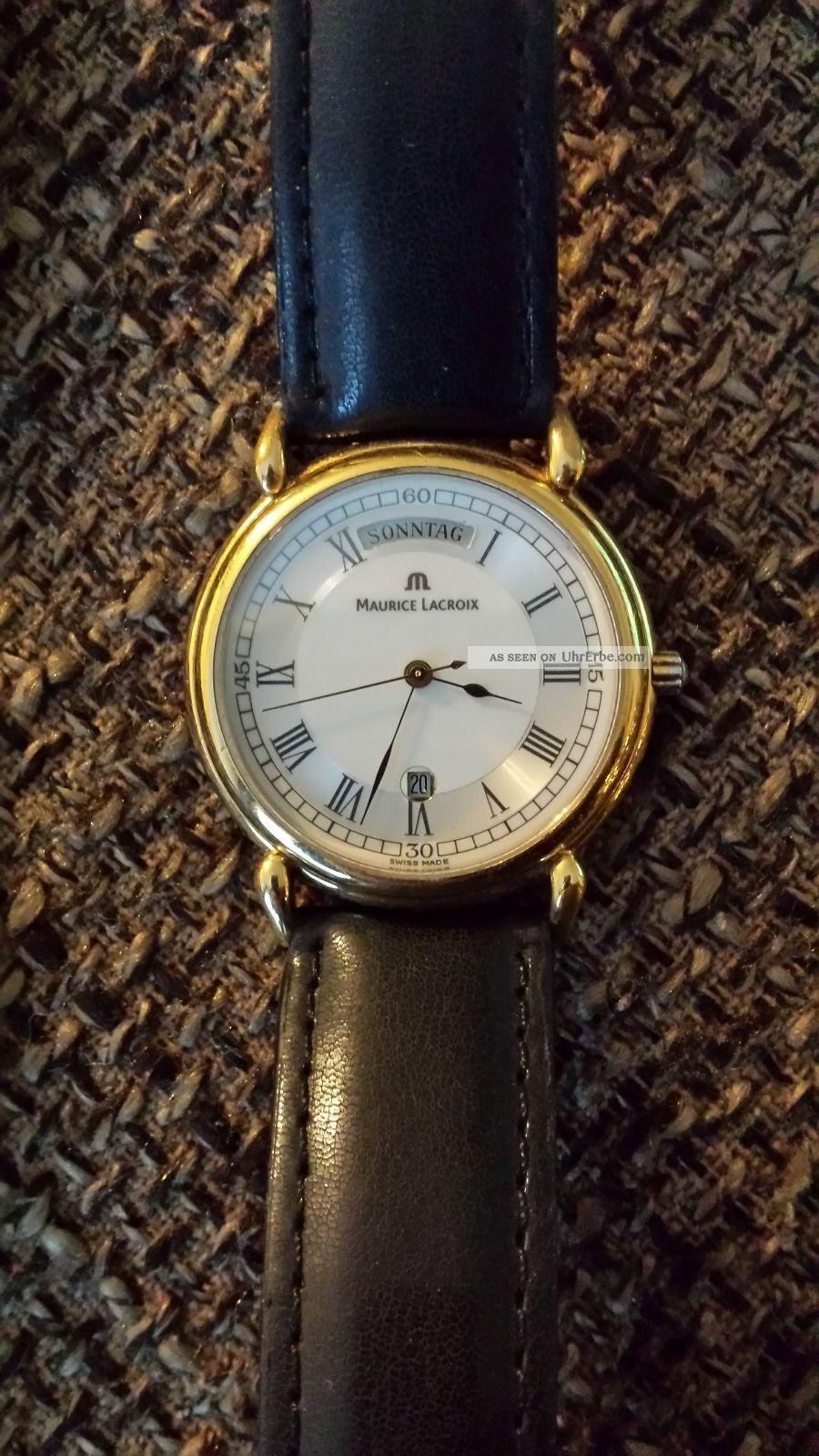 Maurice Lacroix Swiss Made Sapphire Crystal Herre Damen Leder Armbanduhr Armbanduhren Bild