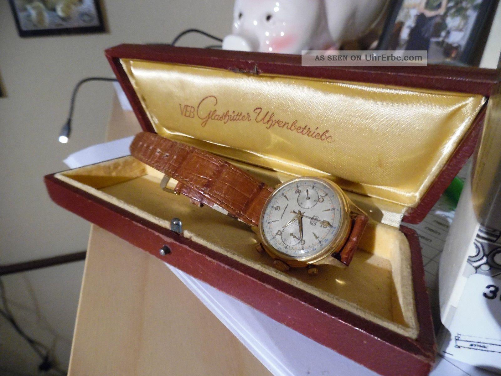 Glashütte Gub Chronograph 64 Mit Box Armbanduhren Bild