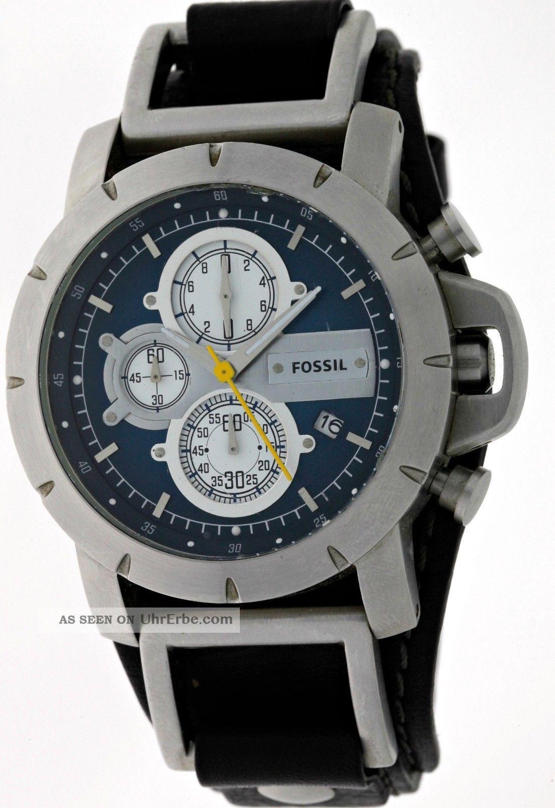 Fossil Trend Jr - 1156 Herren 3 Register Chronograph Mit Datum Edelstahl Blue Dial Armbanduhren Bild