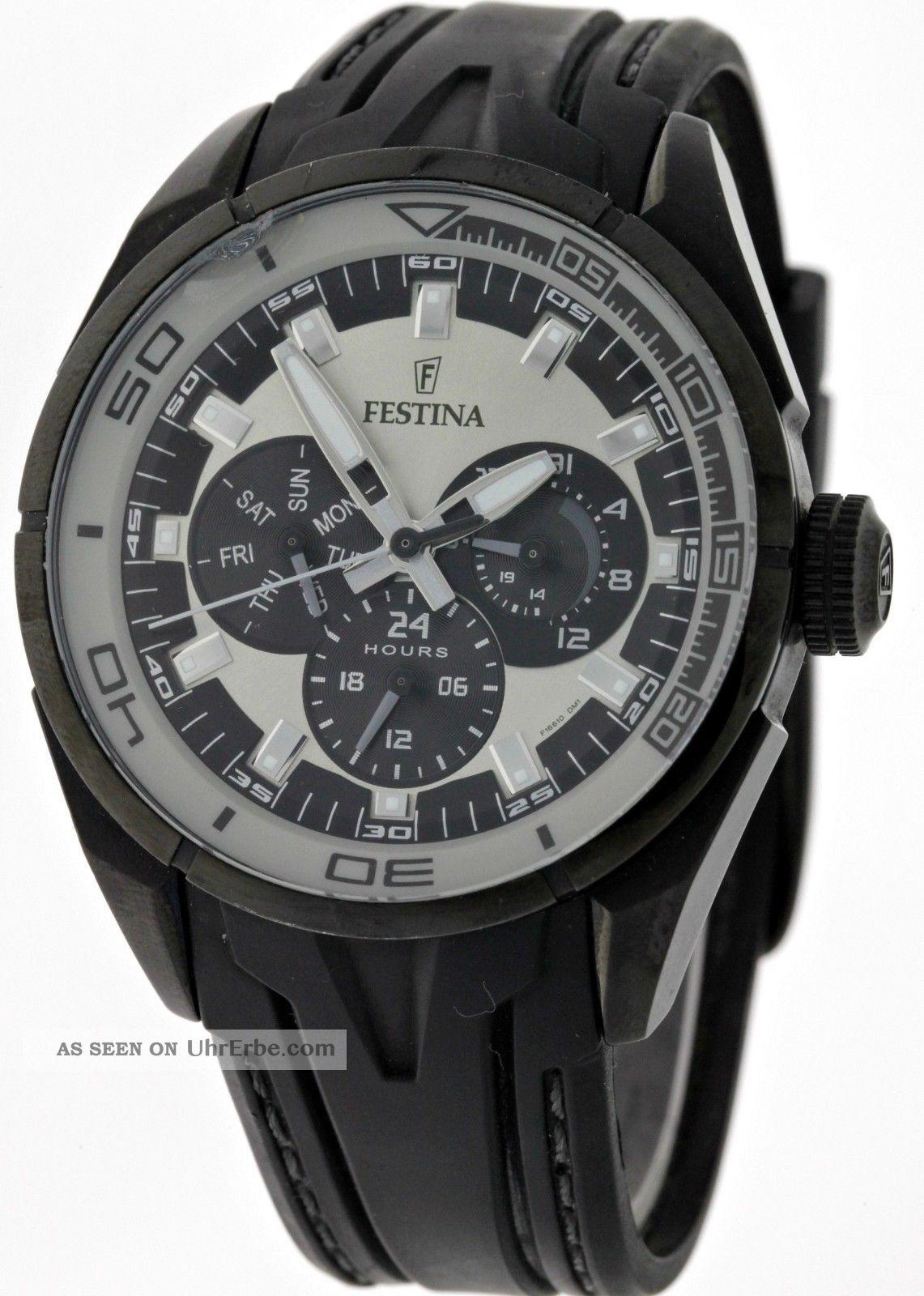 Festina F16610/1 Multifunktion Herren Sport Armbanduhr Edelstahl/kautschukband Armbanduhren Bild