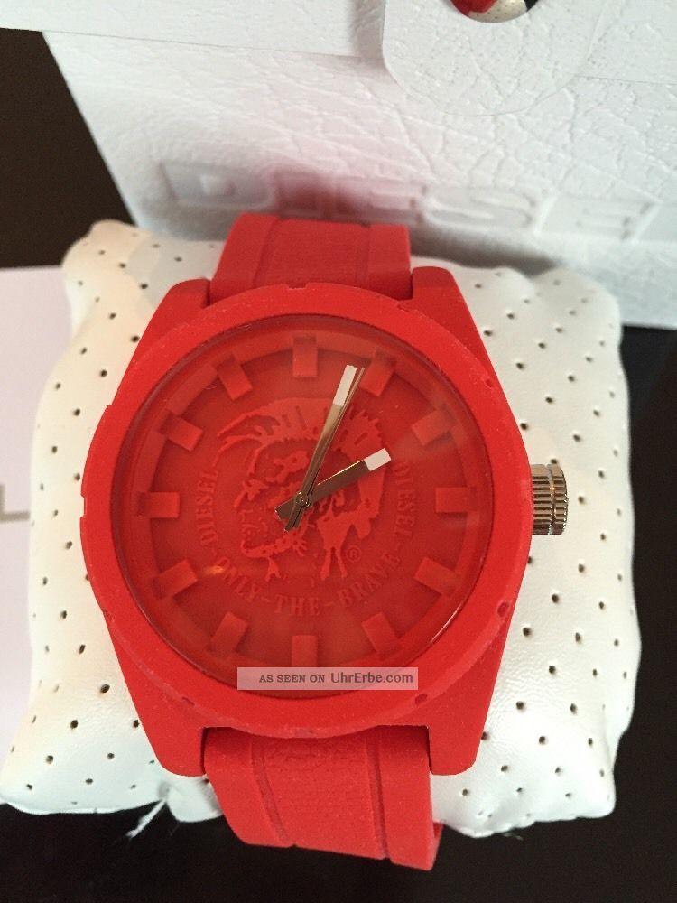 Diesel Oversize Uhr Xxl 46mm Rot Dz1589 Luxus Armbanduhren Bild