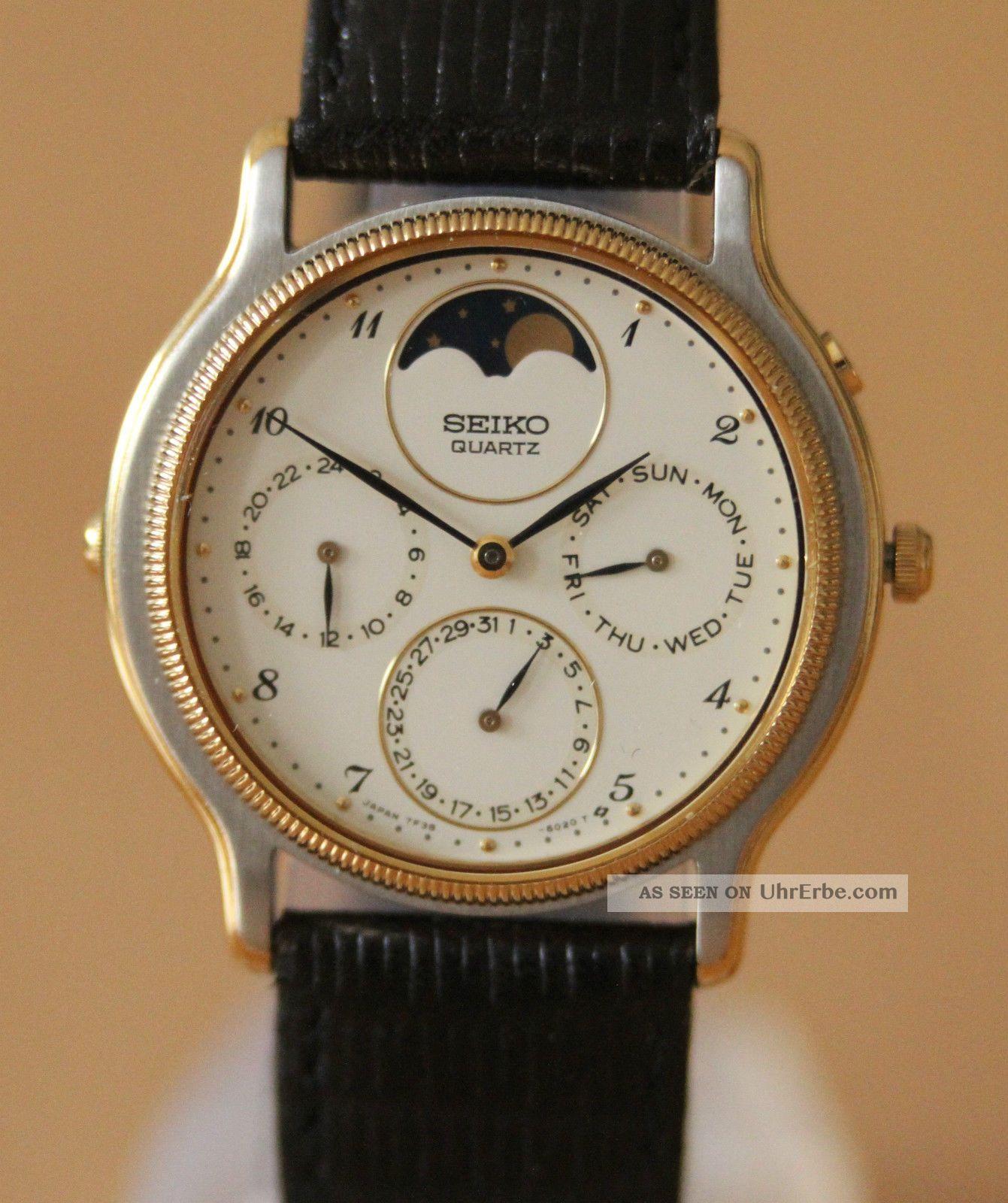 Sehr Schöne Seiko Quarzuhr – Monduhr - Jahreskalender Armbanduhren Bild
