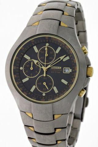 Citizen Analog Chronograph Sportlich Elegant Titan/gold Box&papiere - Neuwertig Bild