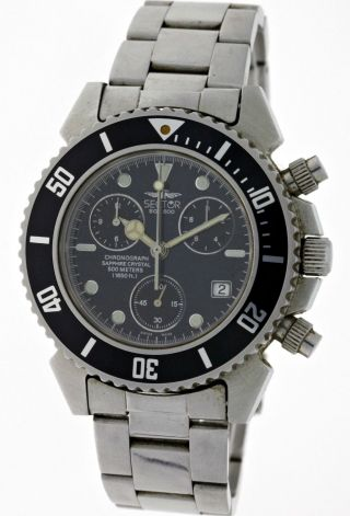 Sector Sge 500 Diver Chronograph 1650 Feet Edelstahl Saphirglas Papiere Aus 1996 Bild
