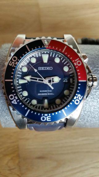 Seiko Ska369p1 Kinetik Diver Pepsi Version Neuwertig Bild