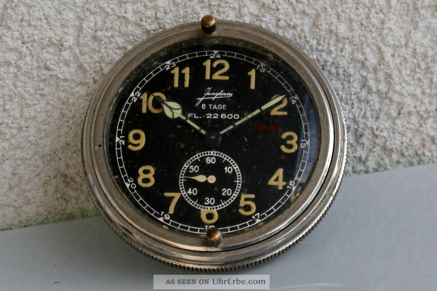 Junghans Deutsche Luftwaffenuhr / Borduhr Fl.  22600 Mit Acht Tage Werk - 2.  Wk. Armbanduhren Bild