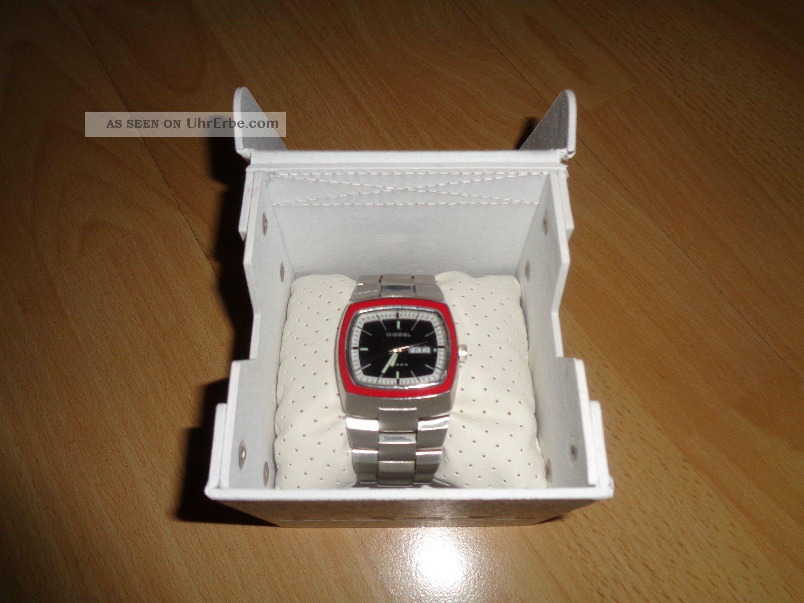 Diesel Herren Analog Armbanduhr Uhr Edelstahl Silber Schwarz Rot Mit Ovp Armbanduhren Bild