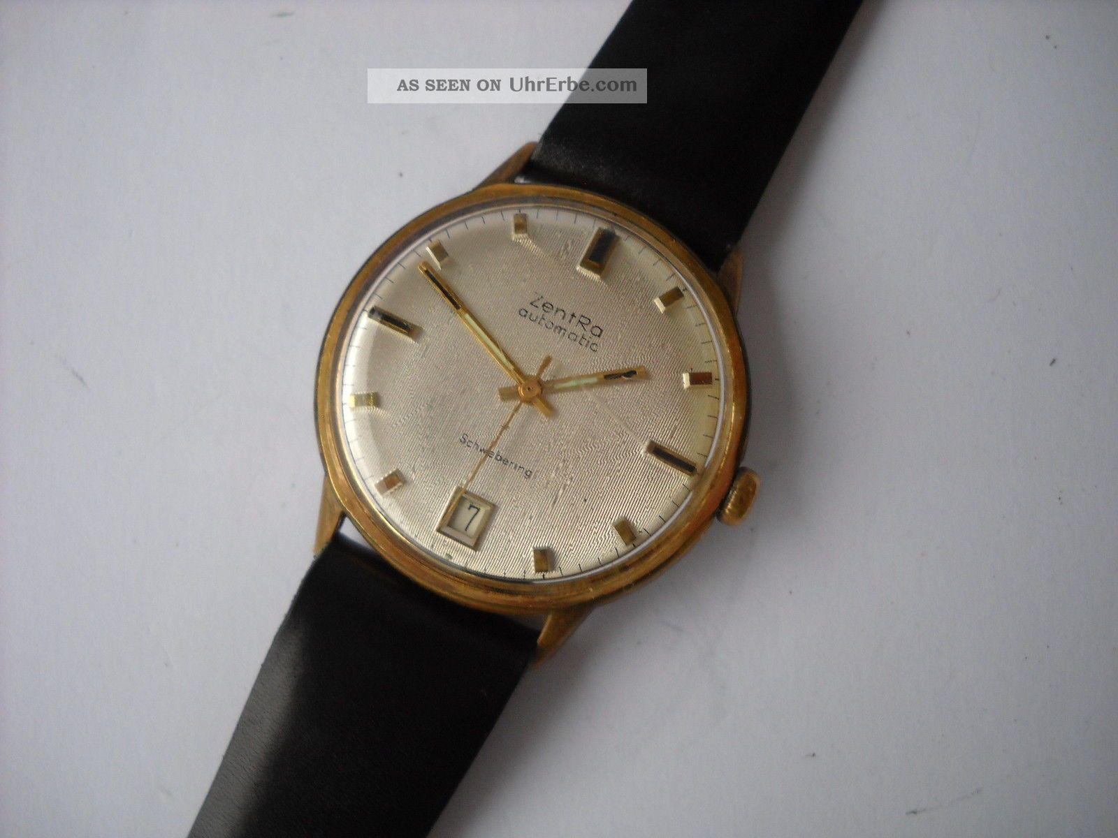 Zentra Schwebering,  Herren,  Armbanduhr,  Automatik,  Vergoldet,  Kaliber Puw 1361 Armbanduhren Bild