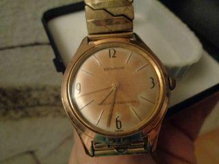 Benrus Herren Vintage Armbanduhr Uhr 20 Micron Gold Waterproof Dustproof Bild
