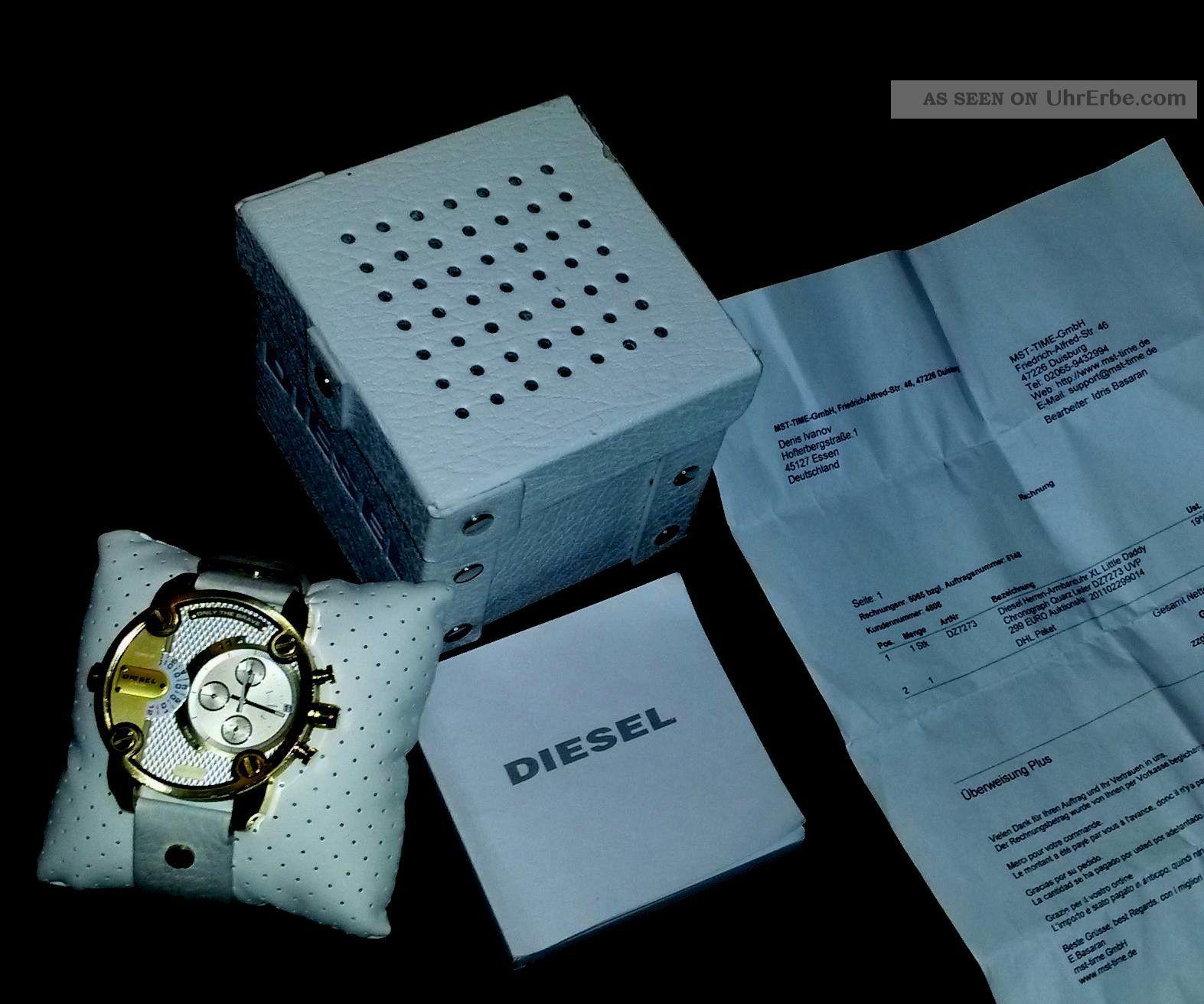 Diesel Uhr Dz7273 Chronograph Little Daddy Weiß/gold Herren Armbanduhren Bild