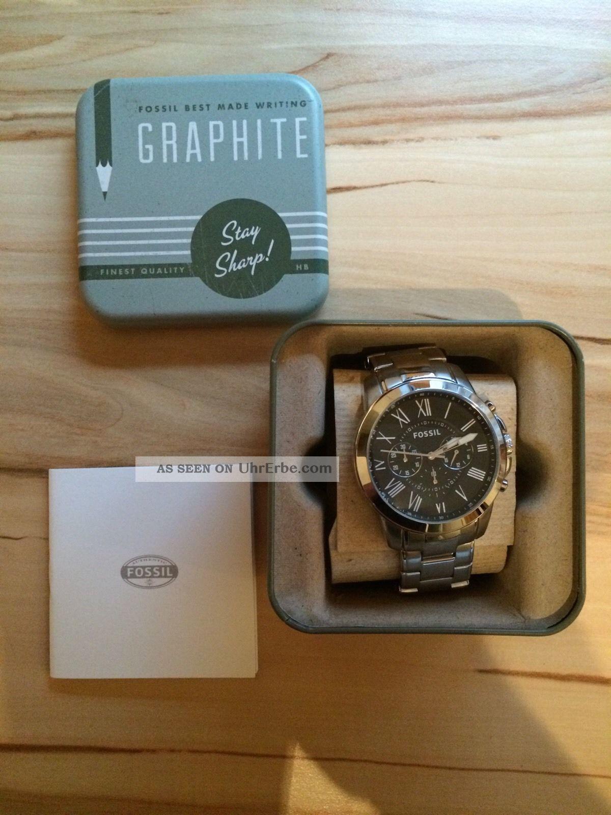 Fossil Herren 44mm Chronograph Delstahl Armband Gehuse Datum Uhr Fs4736