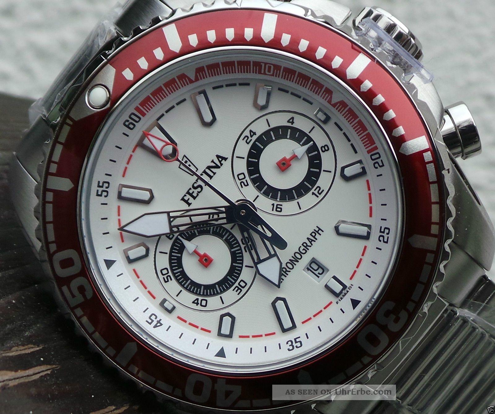 Festina Herrenuhr,  Chronograph,  Datumsanzeig,  46mm Durchmesser 100m Wasserdicht Armbanduhren Bild