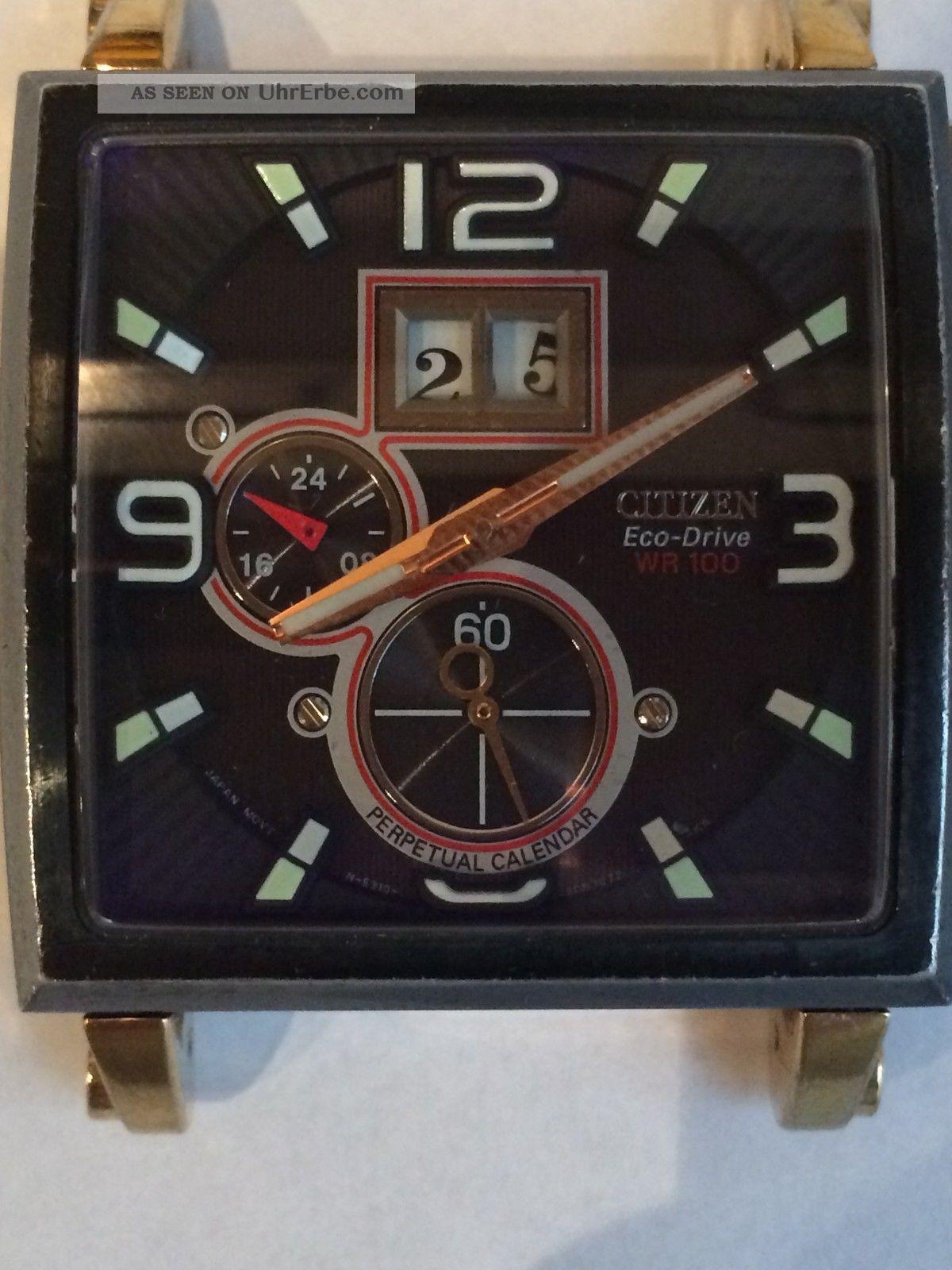 Citizen Eco - Drive Big Twin Date Ewiger Kalender Saphire - Glas (für Bastler) Armbanduhren Bild