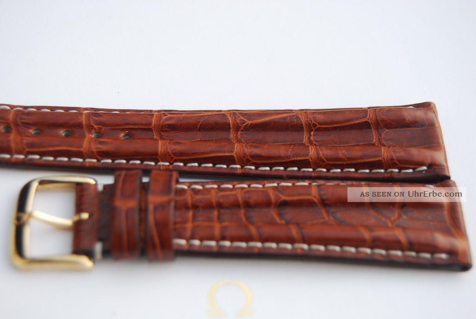 Omega Kroko - Lederband/braun Krokodil 20mm Armband/bracelet Leder 4 Armbanduhren Bild