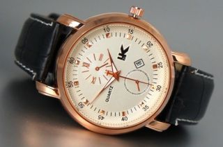 Xxl Herrenuhr Edel Elegant Rose Gold Datumsanzeige Schwarze Leder Armband Box1 Bild